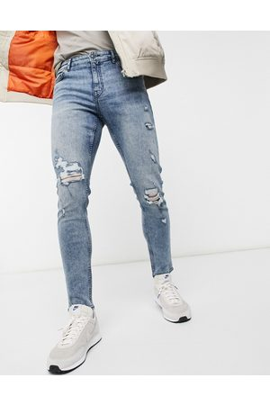 New Look Skinny jeans with rips in mid blue wash-Blues