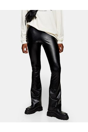 Topshop Faux leather flared pants in croc print