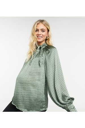 Fashion Union Pussybow relaxed blouse with puff sleeves in diamond spot