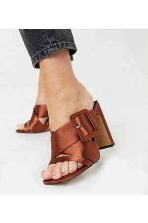 ASOS Wide Fit Nanda buckle detail high heeled mules in rust
