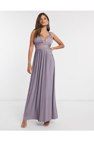 ASOS Premium twist strap lace insert maxi dress in aubergine