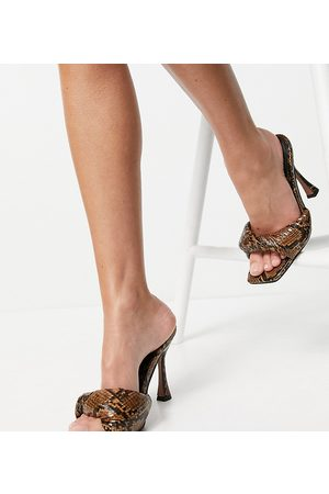 ASOS Wide Fit Niki padded twist high heeled mules in snake