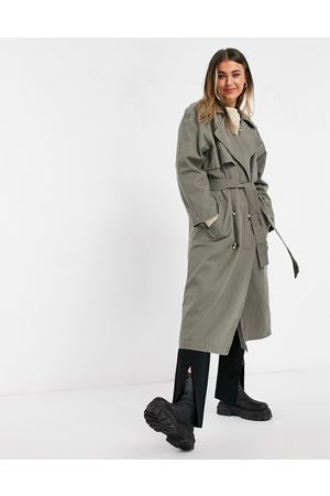 ASOS Canvas trench coat in -Grey