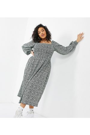 Simply Be Tiered midi dress in mono print