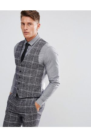 Moss Bros Moss London Skinny Suit vest In Fleck Check