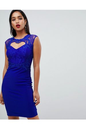 Lipsy London Sweetheart Bodycon Dress With Lace Trim