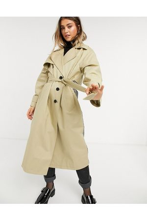 ASOS Check spliced oversized trench coat in stone