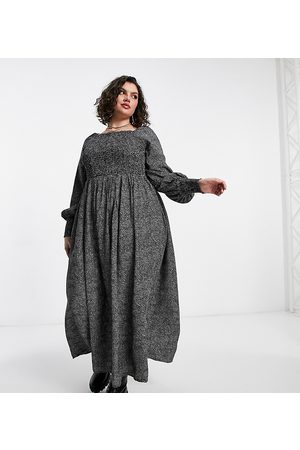 Yours Long sleeve shirred bardot maxi dress in multi floral