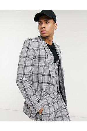 ASOS Super skinny suit jacket in tartan plaid-Grey
