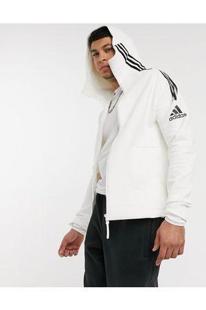 adidas Adidas ZNE 3 stripe zip thru hoodie in