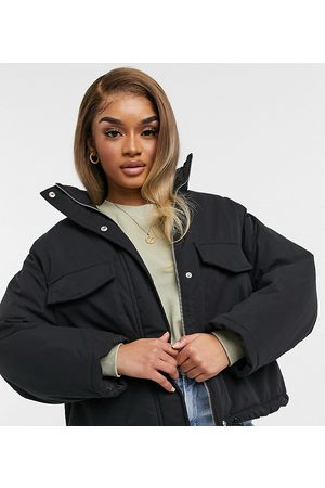 ASOS Petite padded jacket in charcoal-Grey
