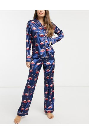 NIGHT Satin long pajama set with flamingo print in navy