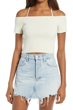 WAYF Women's Deena Off The Shoulder Rib Knit Crop Top