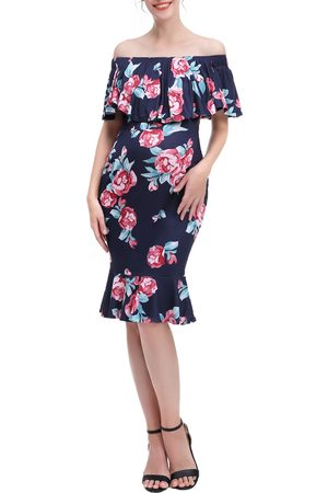 Kimi and Kai Women's Kathryn Floral Mermaid Hem Maternity/nursing Dress