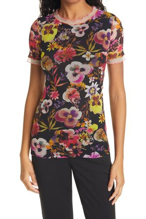 FUZZI Women's Floral Short Sleeve Top