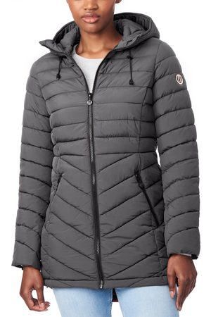 Bernardo Women's Bernado Packable Ecoplume(TM) Hooded Walker Coat