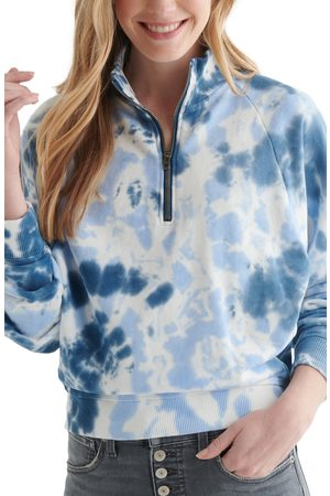 Lucky Brand Women's Boxy Half Zip Cotton Sweatshirt
