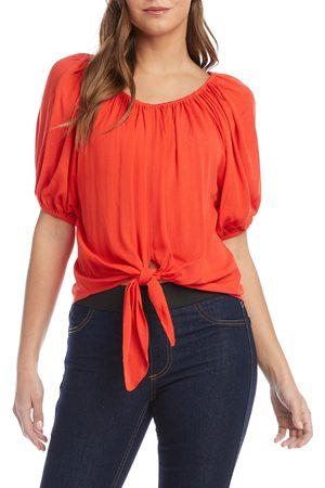 Karen Kane Women's Blouson Sleeve Tie Front Top