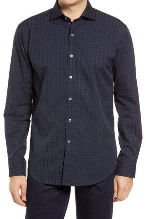 Bugatchi Men's Shaped Fit Mini Check Cotton Button-Up Shirt