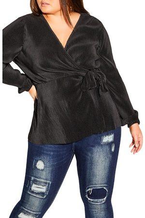 City Chic Plus Size Women's Plisse Wrap Top