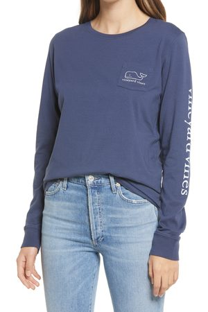 Vineyard Vines Women's Whale Long Sleeve Pocket Graphic Tee