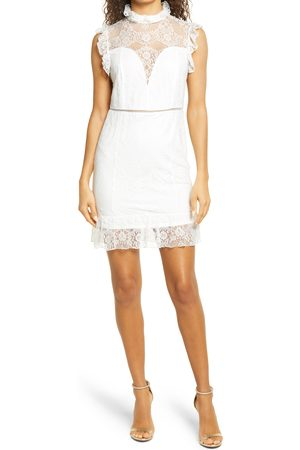 Bebe Women's Lace Mock Neck Dress