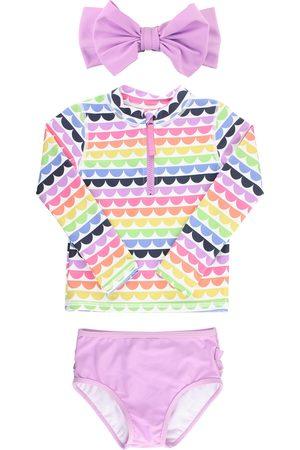 RuffleButts Toddler Girl's Kids' Rainbow Scallop Two-Piece Rashguard Swimsuit & Bow Head Wrap Set