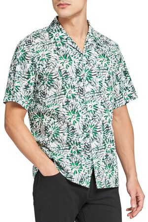 THEORY Men's Weldon Sketched Short Sleeve Button-Up Camp Shirt