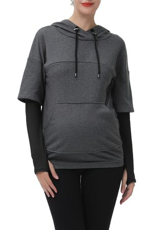 Kimi and Kai Women's Bobo Layered Sleeve Maternity/nursing Hoodie