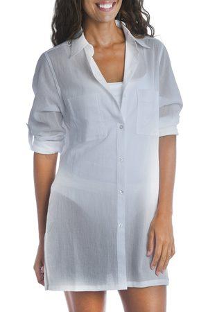 La Blanca Women's Island Fare Resort Long Sleeve Crinkled Cover-Up Shirtdress