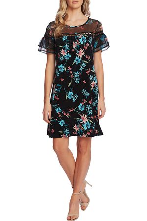 CE&CE Women's Expressive Lillies Ruffle Sleeve Mixed Media Minidress