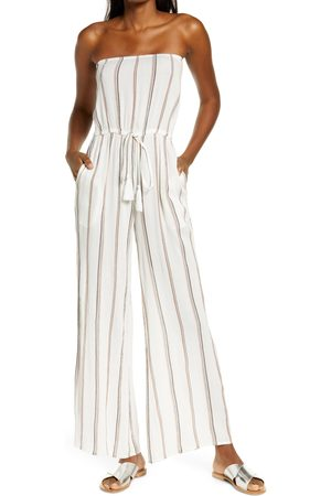 Delan Women's Stripe Swim Cover-Up Jumpsuit