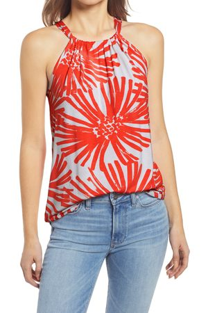 Loveappella Women's Loveapella Tropical Print Halter Top