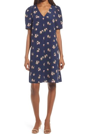 Chelsea Women's Floral Puff Sleeve V-Neck Shift Dress