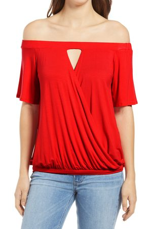 Loveappella Women's Loveapella Off The Shoulder Faux Wrap Top