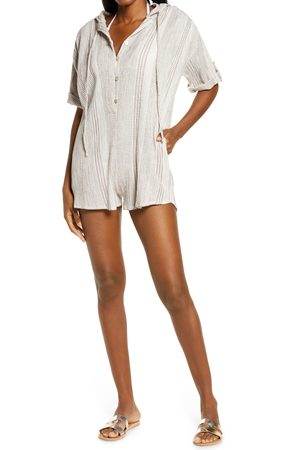 Delan Women's Peasant Hooded Cover-Up Romper