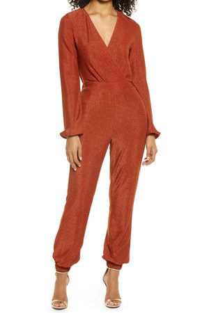 Bebe Women's Metallic Knit Long Sleeve Jumpsuit