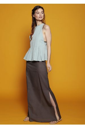 MARAINA LONDON OCTOBER pleated maxi evening dress set in grey and light green