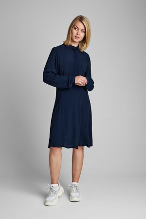 Numph Women Bodycon Dresses - Navy Fitted A-line Dress