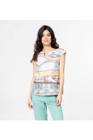 Ivko Geometric Print Top in Linen Mix SS21