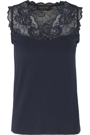 Rosemunde 4812 Sleeveless Top With Lace Trim - 435 Navy