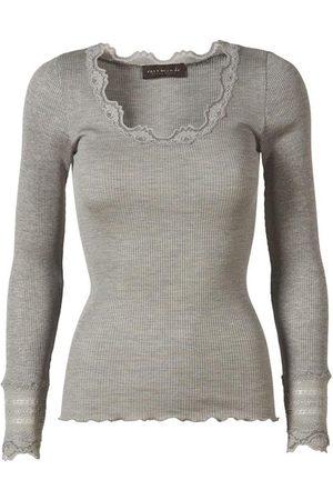 Rosemunde Silk Top Long Sleeve Vintage Lace Light Grey