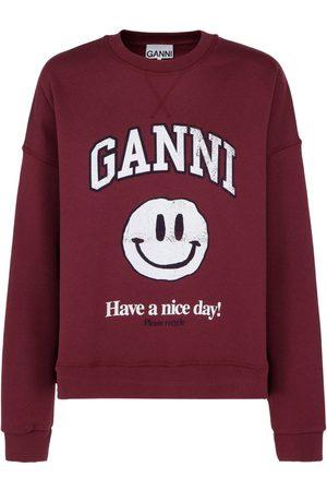 Ganni Women Sweatshirts - WOMEN'S T2717431 BURGUNDY COTTON SWEATSHIRT