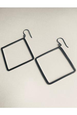 Collard Manson Oxidised 925 square drop earrings