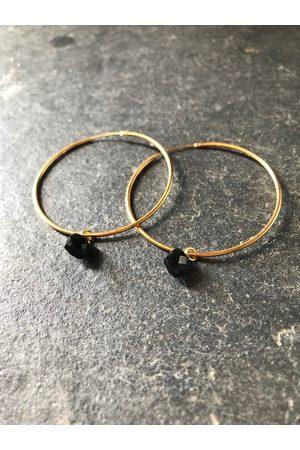 Collard Manson Black onyx hoop earrings