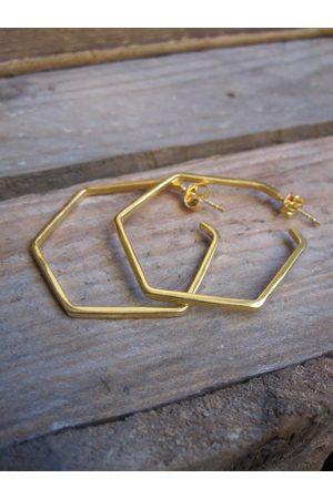Collard Manson 925 Silver Hexagon Earrings - plated