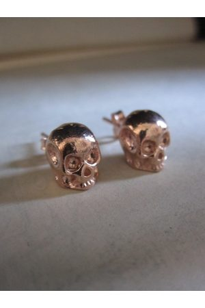 Collard Manson CollardManson 925 Rose Plated Silver Skull Studs