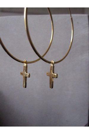 Collard Manson 925 Silver Medium Cross Hoop Earrings