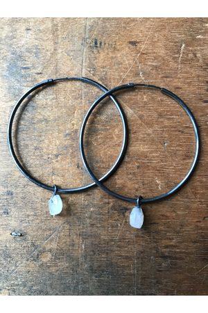 Collard Manson 925 Rainbow Moonstone Hoop Earrings - Oxidised