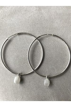Collard Manson 925 Rainbow Moonstone Hoop Earrings